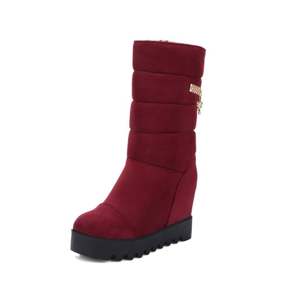 HY Frauen Stiefel Wildleder Herbst Winter dicken Boden warme Winter Stiefel Damen Flache Ferse wasserdicht hohe Stiefel Student Outdoor Ski Schuhe (Farbe   Rot Größe   43)