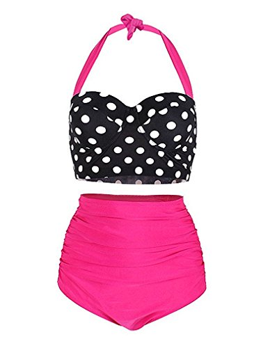 YCYS Women's Vintage Bikini Two Pieces Swimsuit Polka Dot High Waist Adjustable Strap Bathing Suits (M=US SIZE 6-8, Pink)