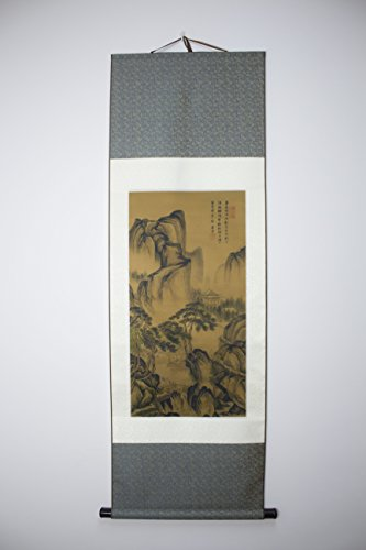 Chinese Scroll Painting on Silk - Hut, Mountain, Stream & Little Bridge by Tang Bohu (唐寅, 唐伯虎 Ming Dynasty)(Reproduction)