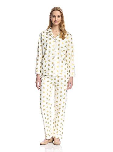 Aegean Apparel Womens Aegan Apparel Gold Polka Dot Flannel Pajama Set, - Aegean Apparel