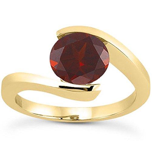Tension Set Yellow Ring (Tension-Set Crimson Garnet Ring Yellow Gold 14K - Size 4 1/2