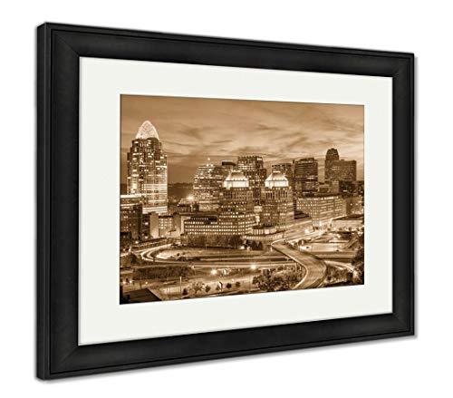 (Ashley Framed Prints Cincinnati, Ohio, USA, Wall Art Home Decoration, Sepia, 34x40 (Frame Size), Black Frame,)