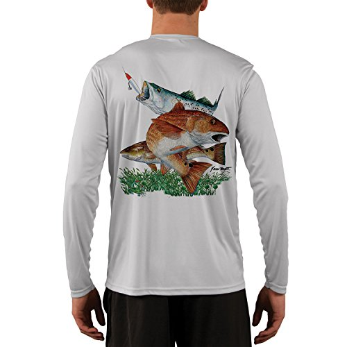 (Kevin Brant Sea Trout & Redfish Men's UPF Performance T-Shirt Large Pearl Grey)