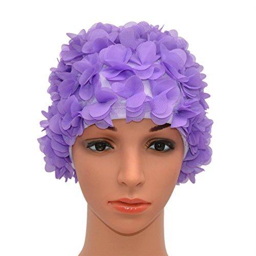 Medifier Lace Vintage Swim cap Floral Petal Retro Style Bathing Caps for Women Rose (Purple)