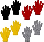 MOMOKY 4 Pairs Kids Magic Stretch Gloves Winter Kids Gloves Warm Knit Gloves for Little Boys Girls, 4 Colors