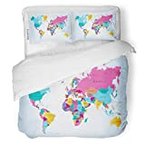 SanChic Duvet Cover Set Brown Abstract Color World Map Africa America Asia Decorative Bedding Set with Pillow Sham Twin Size