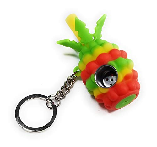 breakable Tobacco Travel Accessory with Key-Chain. Food-Grade-Silicone, Indestructible, Concealable-and-Hand-Sized. Red Green Yellow ()