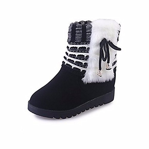 ZHUDJ Women'S Shoes Winter Snow Boots Boots Chunky Heel Round Toe Bowknot For Casual Red Yellow Black Black eKH9f7
