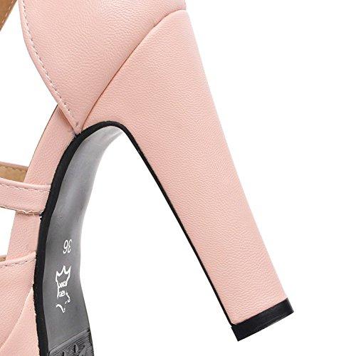 Easemax Femmes Peep Toe Plate-forme Haute Chunky Talon Cheville Boucle Sangle Sandales Avec Des Arcs Rose