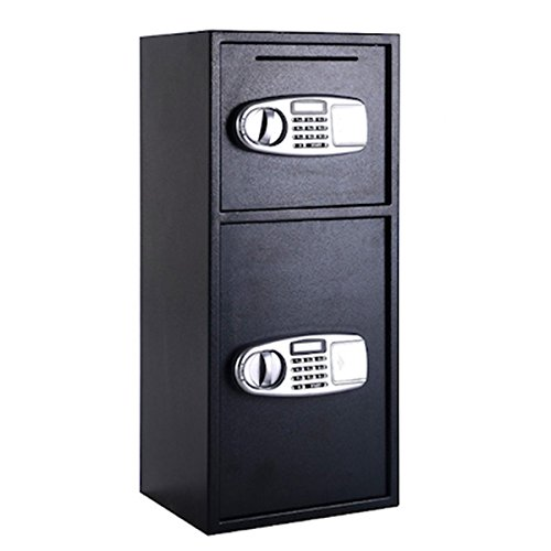 Digital Double Door Safe Security Cash Money Jewelry Gun Book Deposit Drop Slot Lock Box With Electronic Combination Lock And Keys Home And Office Use Solid Steel Construction