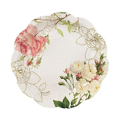 Paper Plates Disposable Plates Party Plates Wedding Plates for Wedding Reception Pink Floral Blossom & Brogues 6'' Round Pk 24