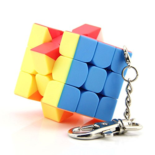 Lanlan Mini 3x3x3 Keychain Magic Cube Stickerless Speed Cube Puzzle Colorful