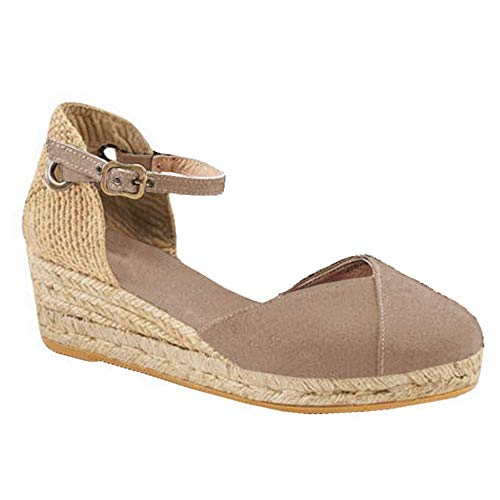 Womens Closed Toe Espadrilles Platform Mid Wedge Heel Shoes Ankle Strap Sandals (5 B(M) US, tan)