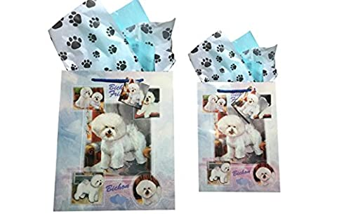 Dog Breed Gift Bags Set of Two with Tissue Paper (Bichon) - Golden Retriever Wrapping Paper