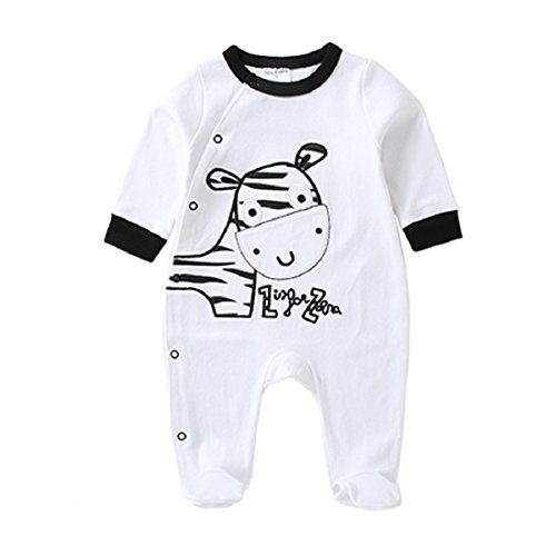 Near Cutest Baby Romper Long Sleeve Cotton Infant Jumpsuit (12M, White)