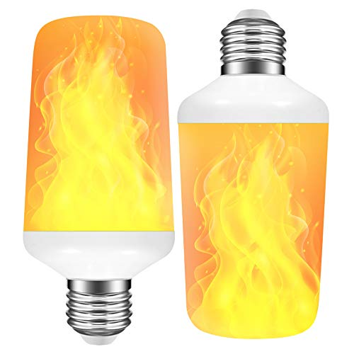 [2 Pack] LED Flame Effect Light Bulb with 4 Lighting Modes and Upside-Down Feature, 7W E26 Standard Base Fire Light Bulb for Christmas Home/Hotel/Bar Party Decoration