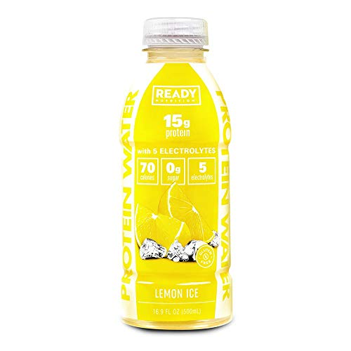 Ready Nutrition Protein Infused Water, 15g Whey Protein Isolate, 0 Sugar, NO Artificial Ingredients, Great for Weight Loss, Lemon Ice (16.9 fl oz Bottle, Pack of 12)