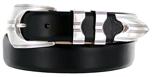 [Hagora Men's Italian Calfskin Smooth Solid Sterling Silver Etched Buckle Belt,Smooth Black 44] (Mens Silver Belt Buckles)