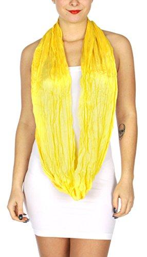 fashion2100 Women Solid Lightweight Infinity Summer Loop Wrap Scarf Bright Yellow