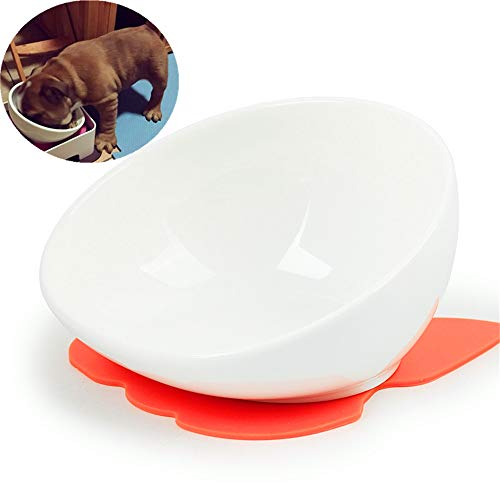 - JYHY Bulldog Bowl Ceramic Dog Food Bowl - Dog Cat Dish Wide Mouth Dog Bowl Pet Sterile Tilted Pet Feeder with Anti-Skid Rubber Mat,White