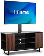 FITUEYES Swivel Wood TV Stand for 32 to 65 inches Flat Curved Screen Height Adjustable Media Console