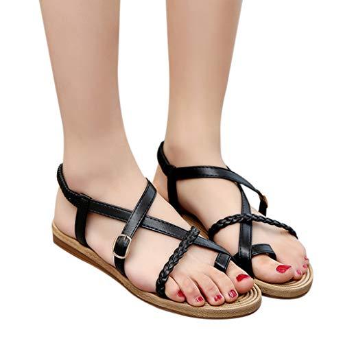 Women Flat Sandals Boho Handmade Beach Buckle Braided Sandals Casual Summer Shoes (7, Black)