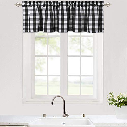 Haperlare Buffalo Checker Pattern Valance Curtains for Kitchen Cafe Curtains, Plaid Gingham Thick Yarn Dyed Farmhouse Bathroom Window Curtains, Black and White Window Treatment, 56