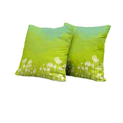 Chaise Lounge Cushion Cover Dandelion,Dandelion Flower Pattern Wild North American Flowering Plant Summertime,Apple Green Seafoam Sofa Pillow Covers 16x16 INCH - Seating Mlp
