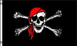 Rojo bandana Jolly Roger bandera 4x 6ft Poly