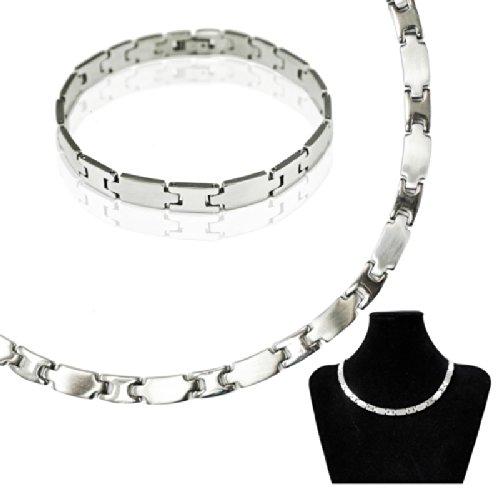 SoulCats® Set Edelstahl Collier und Armband Kette Ankerkette Halskette Gliederkette silber matt glänzend, Modell: 3
