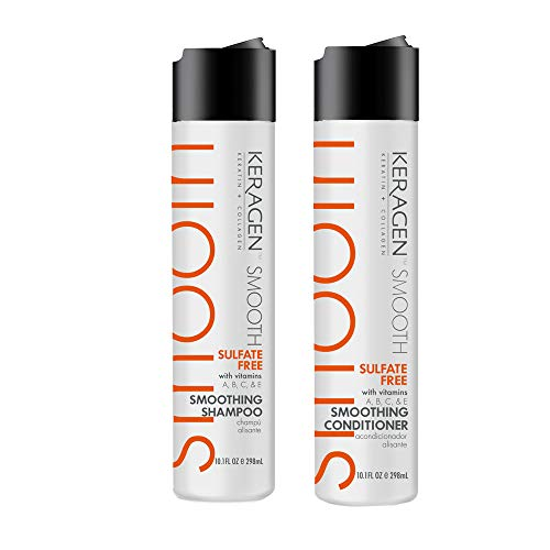 Keragen, Smoothing Shampoo & Conditioner 10oz Combo Set (Best Shampoo And Conditioner After Keratin Treatment)