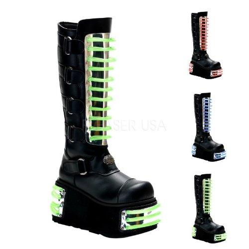 Demonia Techno-854UV - UV-reaktive Gothic Industrial Cyber Mega Plateau Stiefel Schuhe 36-45