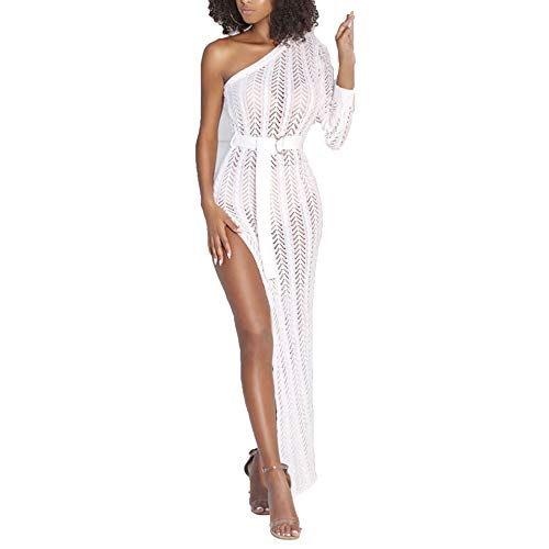 (Womens Sexy Knit Cover Up One Off Shoulder Dress Hollow Out High Slit Knit Beach Pencil Party Maxi Dresss White)
