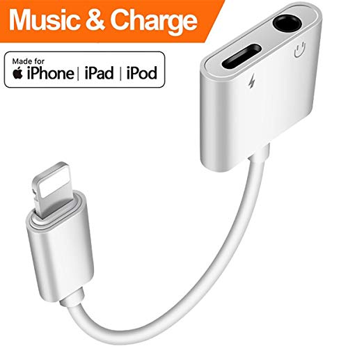 Headphone Adapter for iPhone 7/7 Plus 3.5mm Adapter Splitter Jack Aux Audio Charger for iPhoneX/Xs Max/XR/8/8 Plus Earphone Adaptor Charger Cables & Audio Converter Dongle Support iOS 11/12 or Higher ()