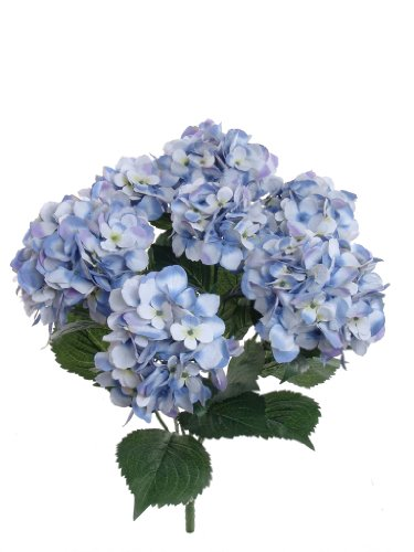 Larksilk Hydrangea Silk Artificial Bush w/ 7 Mop Heads, 22 Inches, Pack of 2 (Blue)