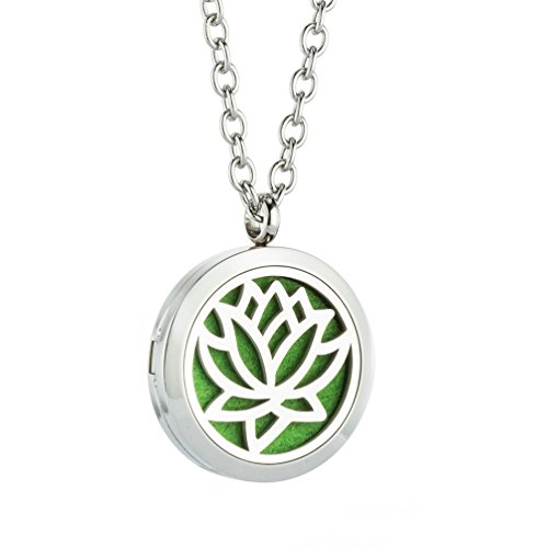 JAOYU Aromatherapy Essential Oil Pendant - Diffuser Love Necklace - Stainless Steel Locket Jewelry - Best Valentine's Day Gift For Him & Her