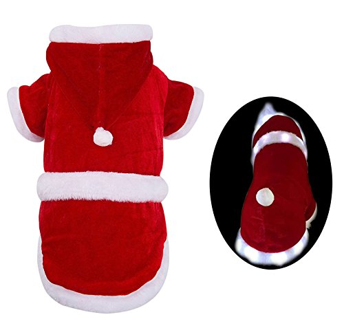 [Santa Clause Dog Costume Christmas Festive Designer Clothes with LED Stripe Large Size PUPTECK] (Dog Outfits For Christmas)