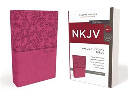 nkjv value thinline bible standard print leathersoft pink red