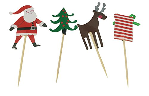 Mini Christmas Tree Santa Elk Gift Box Party Decorations Food Toothpicks For Cupcake Muffin - Picks Cupcake Wood For Toppers