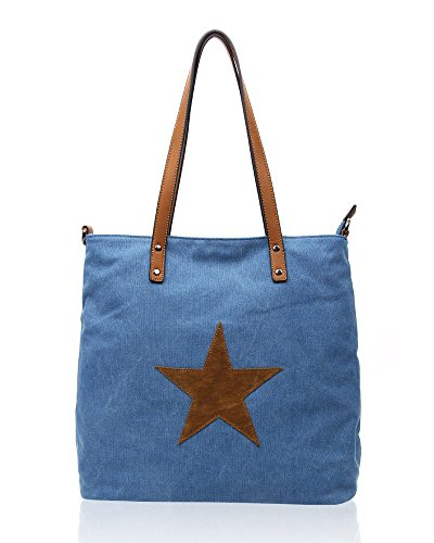 SwankySwans - Lauren Star Canvas Medium, Borse a Tracolla Donna Blu (Blu (Denim))