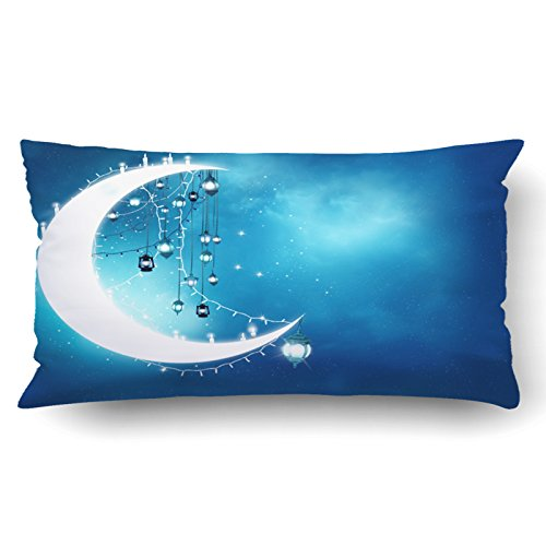 Emvency Pillow Covers Decorative Islamic Greeting Eid Mubarak Muslim Holidays Eid Ul Adha Festival Celebration Bulk With Zippered 20x36 King Pillow Case For Home Bed Couch Sofa Car One Sided by Emvency