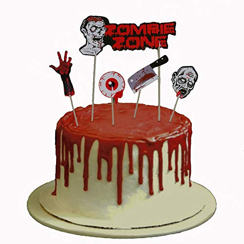 Halloween Bloody Cupcake Topper Set Cake Birthday Scary Theme Party Decoration Eyeball Knife Zombie Decor Props Pack of 9 -