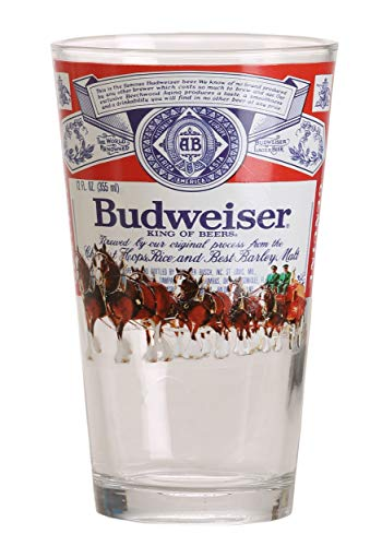 Silver Buffalo ANB22266B Budweiser Label with Clydesdales Pint Glass, 16-oz, Multicolor