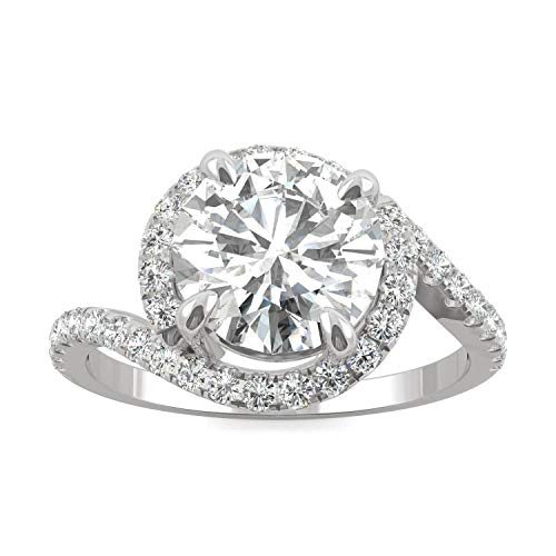 (14K White Gold Moissanite by Charles & Colvard 8mm Round Engagement Ring-size 6, 2.24cttw DEW)