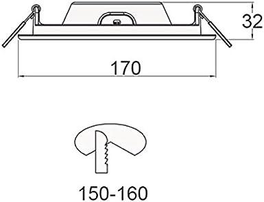12 Watt Geh/äuse wei/ß Ausschnitt 150-160mm 230V LED Einbaupanel warmwei/ß
