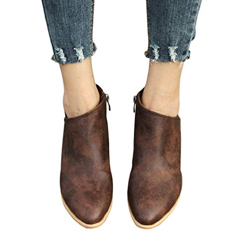(Photno Women's Imitation Leather Western Almond Round Toe Slip on Bootie - Low Stack Heel Zip Up - Casual Ankle Boot Brown)