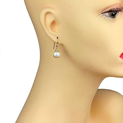 Zuchtperlen-Ohrringe, per Hand mit 14-Karat-Gold eingefasst, 8&nbsp ...