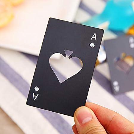 Tomedeks 2PCS Abrebotellas de póquer, abridor de botellas de acero inoxidable, adecuado para el tamaño de billetera (negro y plateado)