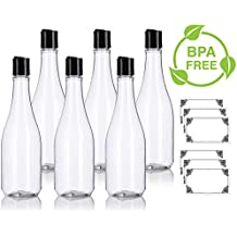 12 oz Clear PET (BPA Free) Plastic Refillable Rounded Bottle with Black Disc Cap (6 pack) + Labels