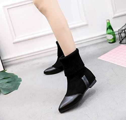 And Flat Warm New Female Black Boots Autumn The Plush Socks Martin Boots Retro Air Boots 38 KHSKX Winter Pointed qxgwHIWa